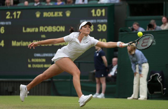 England's Laura Robson returns in her match against Columbia's Mariana Duque-Marino on day five of the 2013 Wimbledon Championships in London on June 28, 2013. UPI/Hugo Philpott