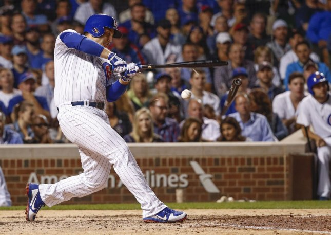 Anthony Rizzo and the Chicago Cubs fought off the Atlanta Braves on Saturday. Photo by Kamil Krzaczynski/UPI