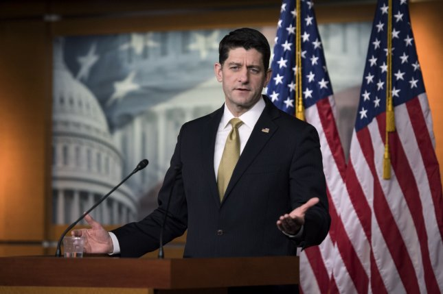 House Speaker Paul Ryan of Wisconsin said it should be up to local governments to determine whether they arm gun-adept teachers. File Photo by Kevin Dietsch/UPI