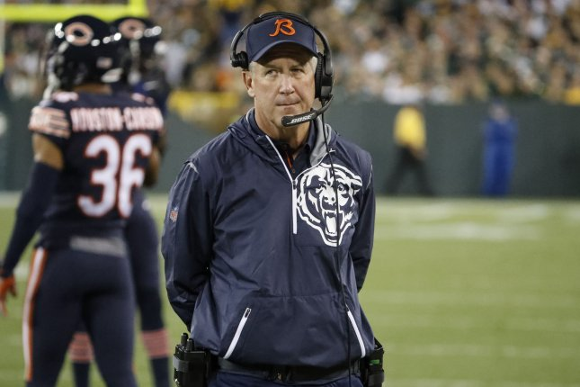 Former Chicago Bears head coach John Fox looks on from the sidelines during the first half of an NFL game against the Green Bay Packers on September 28, 2017 at Lambeau Field in Green Bay. Photo by Kamil Krzaczynski/UPI