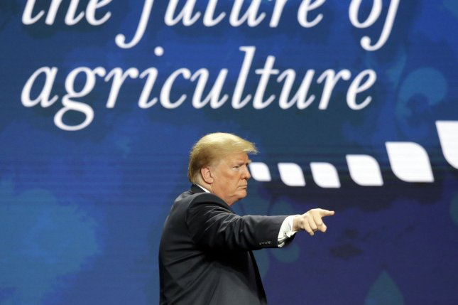President Donald Trump is set to appear at the American Farm Bureau Federation's annual convention for the third consecutive year on Sunday. File Photo by AJ Sisco/UPI