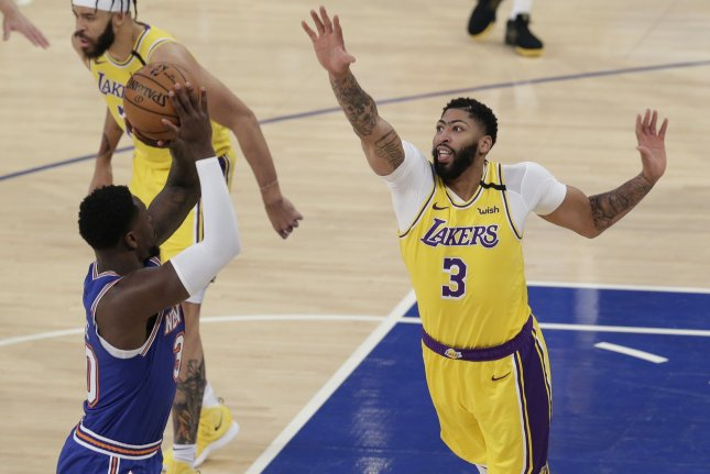 Los Angeles Lakers star Anthony Davis (3) was averaging 26.7 points, 9.4 rebounds, 3.1 assists and 2.4 blocks in his first season with the Lakers before the NBA suspended the 2019-20 campaign in mid-March because of the coronavirus pandemic. File Photo by John Angelillo/UPI