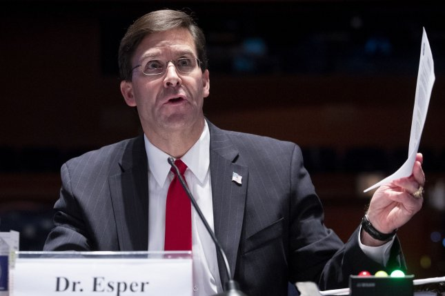 Mark Esper, here at a House Armed Services Committee hearing on July 7, 2020, was fired as Defense Secretary by President Donald Trump on Monday. Pool Photo by Michael Reynolds/UPI