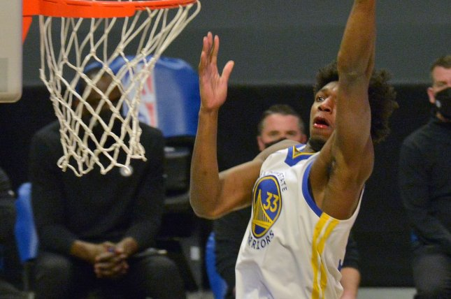 Golden State Warriors rookie center James Wiseman was injured during Saturday's game against the Houston Rockets. File Photo by Jim Ruymen/UPI