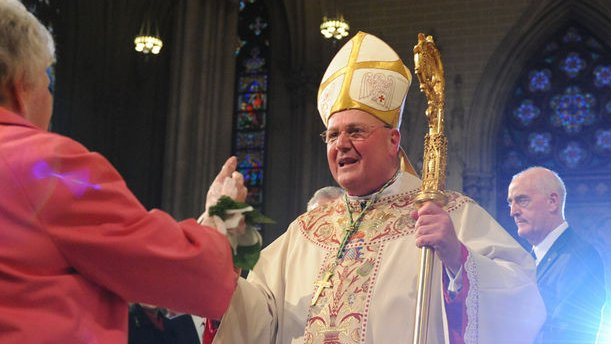 Archbishop, now Cardinal, Timothy Dolan hugs his mother Shirley as he participates in the Archdiocese of New York Mass of Installation for Dolan, April 15, 2009 at St. Patrick's Cathedral in New York. The former Milwaukee archbishop is taking over the most visible American job in the Roman Catholic Church and the nation's second-largest diocese after Los Angeles. (UPI Photo/Robert Sabo/POOL)