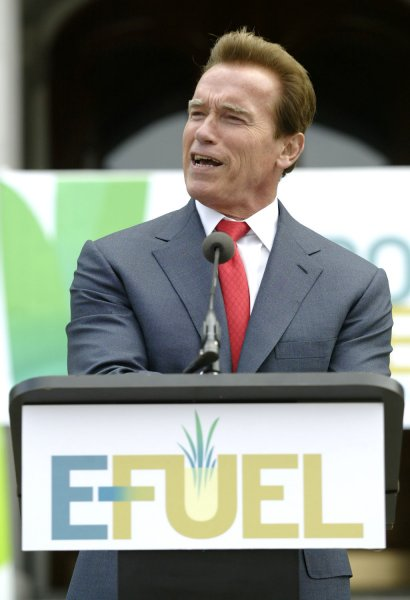 Governor Arnold Schwarzenegger speaks an event to unveil the final production model of the E-fuel 100 MicroFuelerª, a portable micro-refinery fuel system for consumer use, Sacramento, California, on June 04, 2009. The MicroFueler is a household appliance-sized unit that creates ethanol fuel (E-Fuel100) from organic waste.. (UPI Photo/Ken James)