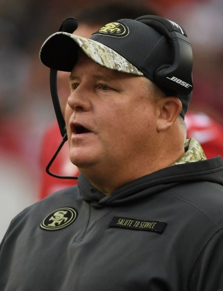 Former San Francisco 49ers coach Chip Kelly watches from the sidelines during a game against the New York Jets last season. Photo by Terry Schmitt/UPI