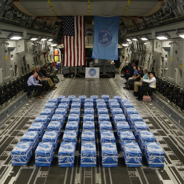 United Nations Command returned 55 cases possibly containing the remains of U.S. service members during a return ceremony at Osan Air Base in South Korea on Friday. Photo by Sgt. Quince Lanford/U.S. Army