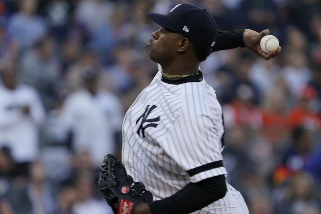 New York Yankees pitcher Luis Severino was shut down by the club last week due to forearm discomfort in his throwing arm. File Photo by Ray Stubblebine/UPI