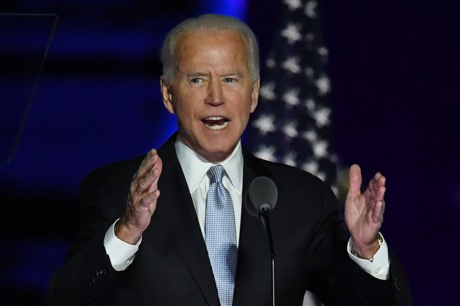President-elect Joe Biden delivers his victory speech after defeating President Donald Trump in the 2020 presidential election, in Wilmington, Delaware, on November 7. File photo by Pat Benic/UPI