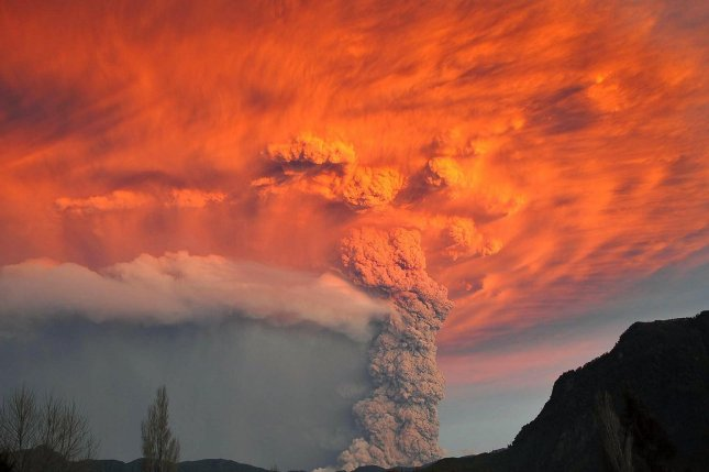 A volcano in southern Chile, some 600 miles south of Santiago, erupts for a second day on June 5, 2011, shooting out a cloud of ash six miles high. Residents evacuated from the Puyehue-Cordón Caulle volcano complex area, and there have been no injuries. UPI/Miguel Angel Bustos