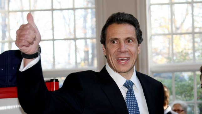 New York Governor Andrew Cuomo gives the thumbs-up. (File/UPI/Monika Graff.)