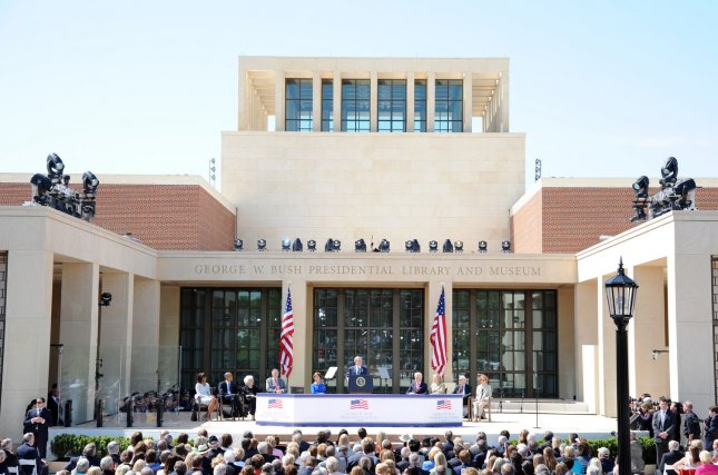The George W. Bush Presidential Library and Museum in Dallas is shown during the former president's speech at the facility's dedication ceremony April 25, 2013. UPI/Ian Halperin