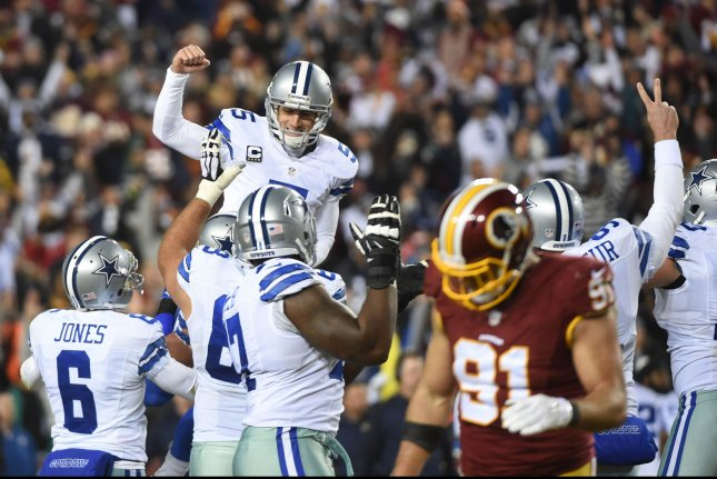 Dallas Cowboys kicker Dan Bailey (5) celebrates his game winning field goal against the Washington Redskins at FedEx Field in Landover, Maryland on December 7, 2015. The Cowboys defeated the Redskins 19-16. Photo by Molly Riley/UPI