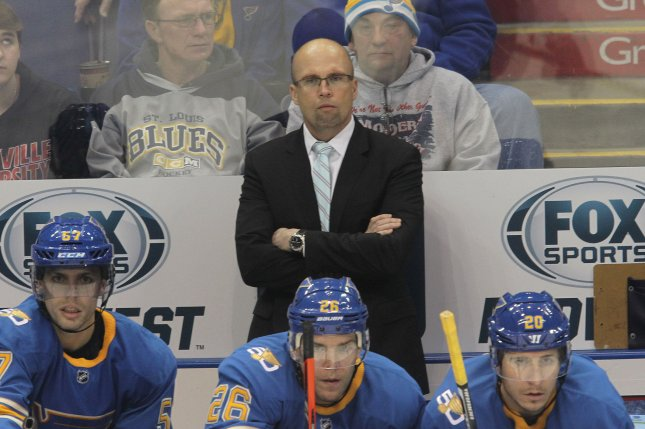 St. Louis Blues new head coach Mike Yeo watches his team in the first period against the Toronto Maple Leafs at the Scottrade Center in St. Louis on February 2, 2017. Yeo takes over for fired head coach Ken Hitchcock. Photo by Bill Greenblatt/UPI