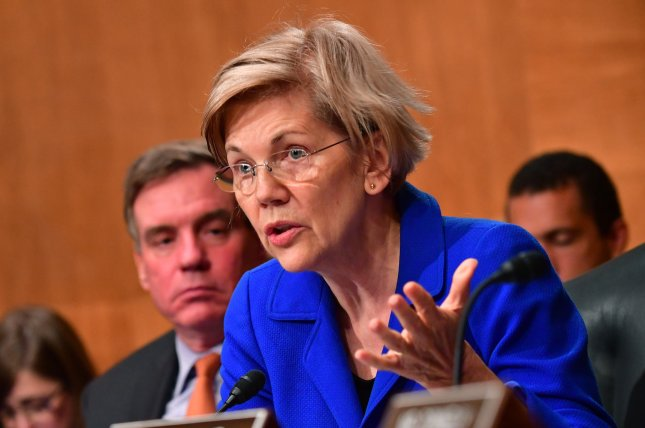 Sen. Elizabeth Warren, D-Mass., is among a group of Democrats opposed to a rolling back of critical parts of the 2010 Dodd-Frank Act. Photo by Kevin Dietsch/UPI