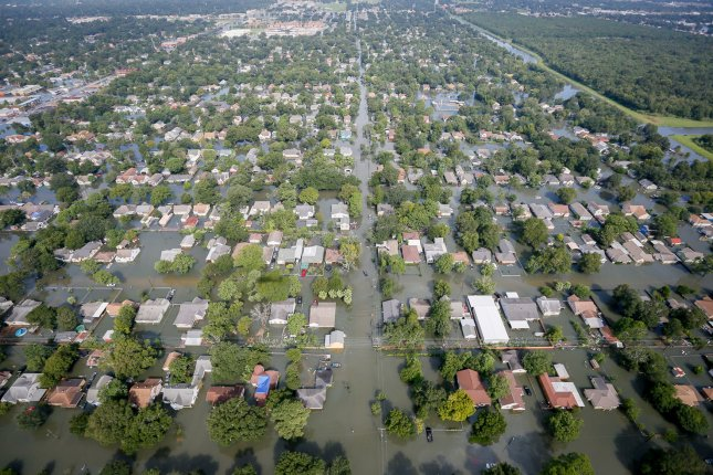 An aerial view of the flooding caused by Hurricane Harvey in Houston, Texas, on Aug. 31, 2017. On Friday, a grand jury indicted a chemical plant and its leaders, charging them with releasing harmful chemicals into the air and water that put residents and first responders at risk in the wake of the storm. Photo by Staff Sgt. Daniel J. Martinez/Air National Guard/UPI