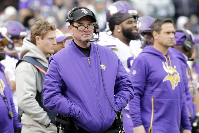 Minnesota Vikings head coach Mike Zimmer stands on the sideline in the first half against the New York Jets on October 21, 2018 at MetLife Stadium in East Rutherford, New Jersey. Photo by John Angelillo/UPI