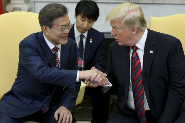 South Korean President Moon Jae-in (L) is to meet with President Donald Trump on Thursday. File Photo by Oliver Contreras/UPI