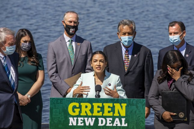 Rep. Alexandria Ocasio-Cortez, D-NY., gives a press conference at the U.S. Capitol in Washington, D.C., on Tuesday when she and Sen. Ed Markey to reintroduce the Green New Deal. Photo by Tasos Katopodis/UPI