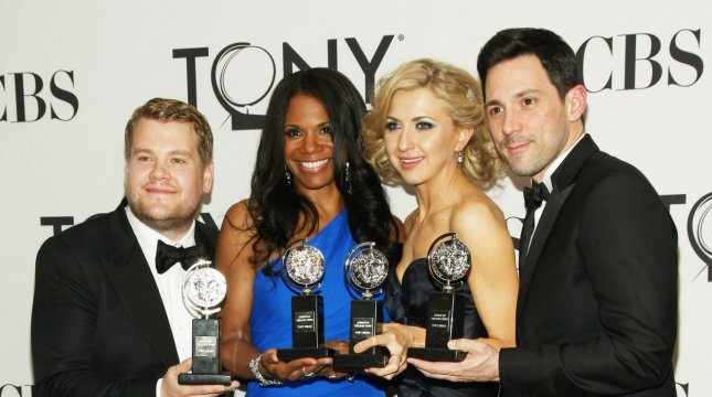 Left to right are James Corden, winner of the Best Performance by an Actor in a Leading Role in a Play for his role in One Man, Two Guvnors, Audra McDonald of The Gershwins' Porgy and Bess. winner of Best Performance by an Actress in a Leading Role in a Musical, Nina Arianda from Venus in Fur, winner of Best Performance by an Actress in a Leading Role in a Play, and Steve Kazee from Once, winner of Best Performance by an Actor in a Leading Role in a Musical as they poses for photographers during the 66th Annual Tony Awards held at the Beacon Theatre on June 10, 2012 in New York City. UPI/Monika Graff