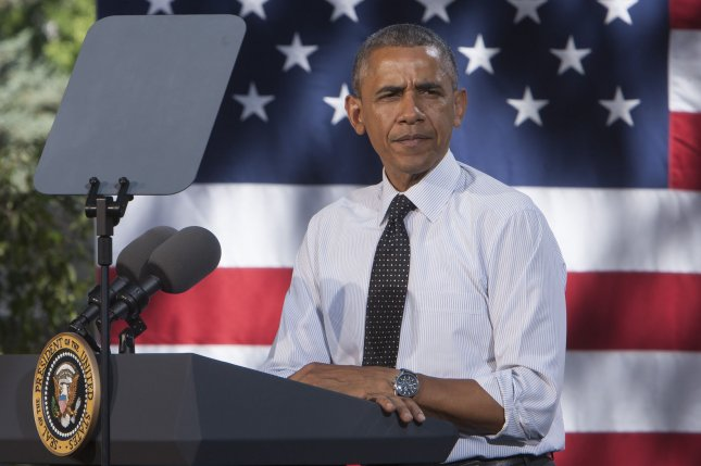 President Barack Obama speaks during an economic speech at Cheeseman Park in Denver on July 9, 2014. President Obama spoke passionately about topics from minimum wage to executive actions. UPI/Gary C. Caskey.