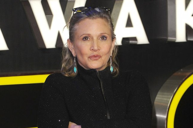 "Carrie Fisher attends the European Premiere of ""Star Wars - The Force Awakens"" at Empire Leicester Square in London on December 16, 2015. Fisher has discusssed the reaction to news of her secret affair with Harrison Ford. File Photo by Paul Treadway/ UPI"