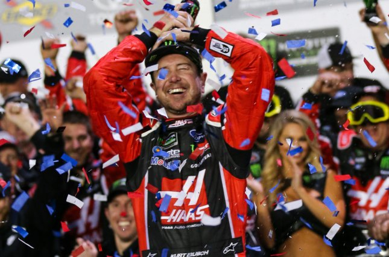 Kurt Busch celebrates after winning the 59th Daytona 500 on February 26, 2017 in Daytona, Florida. Photo by Mike Gentry/UPI