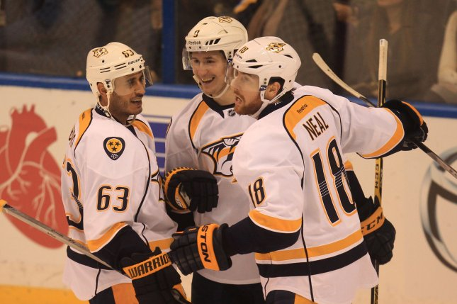 Filip Forsberg (center) scored his second goal of the night 2:45 into overtime, leading the Nashville Predators to a 5-4 win over the Buffalo Sabres on Tuesday. File Photo by Bill Greenblatt/UPI