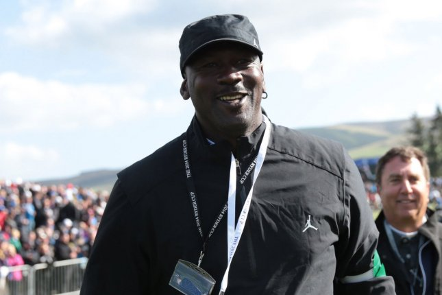 American basketball legend Michael Jordan on the first day of the 2014 Ryder Cup in Gleneagles,Scotland on September 26, 2014. File photo by Hugo Philpott/UPI