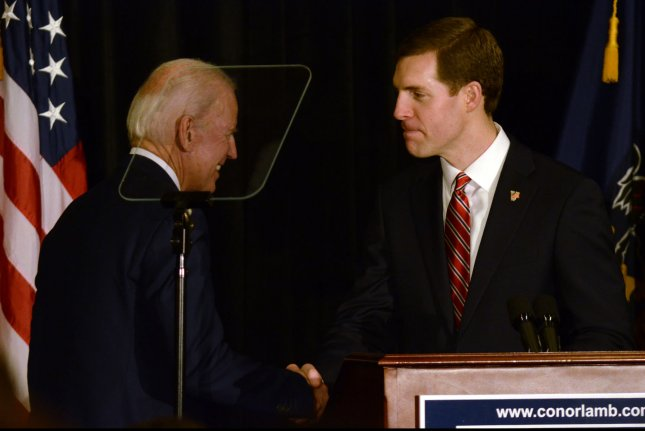 Former Vice President Joe Biden (L) campaigns for Conor Lamb (R) last week in Pennsylvania. Photo by Archie Carpenter/UPI