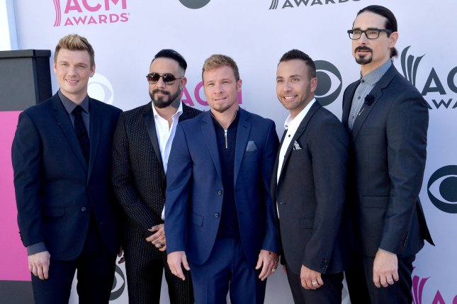 Left to right, Nick Carter, AJ McLean, Brian Littrell, Howie D and Kevin Richardson of the Backstreet Boys. The group joined Jimmy Fallon for a new segment of Classroom Instruments. File Photo by Jim Ruymen/UPI