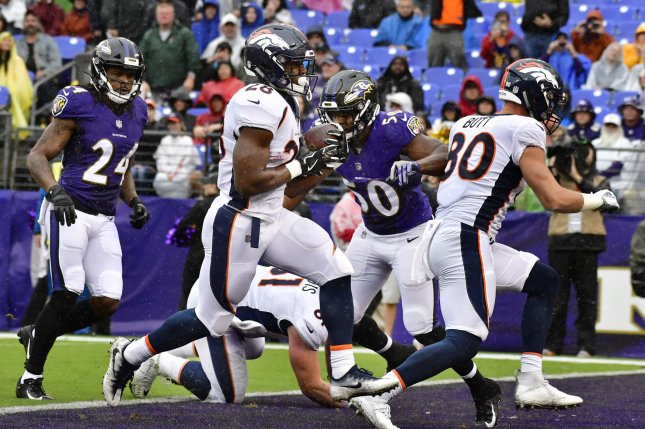 Denver Broncos running back Royce Freeman (28) scores a six-yard touchdown against the Baltimore Ravens during the first half on September 23, 2018 at M&T Bank Stadium in Baltimore, Maryland. Photo by David Tulis/UPI