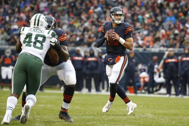 Chicago Bears quarterback Mitchell Trubisky (10) looks to pass the ball against the New York Jets during the second half on October 28 at Soldier Field in Chicago. Photo by Kamil Krzaczynski/UPI