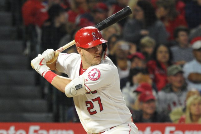 Los Angeles Angels center fielder Mike Trout (pictured) is tied with New York Mets rookie Pete Alonso with a Major League Baseball-best 45 home runs this season. File Photo by Lori Shepler/UPI