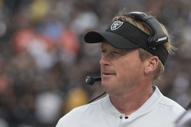 Las Vegas Raiders head coach Jon Gruden sent home all five of his starting offensive linemen Wednesday due to contact tracing. File Photo by Terry Schmitt/UPI