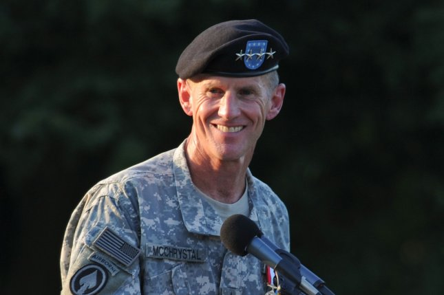 Army Gen. Stanley McChrystal speaks at his retirement ceremony at Fort McNair in Washington on July 23, 2010. On June 23, 2010, McChrystal resigned as commander of U.S. and NATO troops in Afghanistan. File Photo by Alexis C. Glenn/UPI