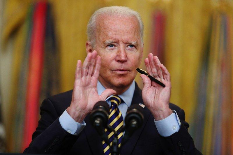 U.S. President Joe Biden speaks in the East Room of the White House in Washington, D.C., on Thursday. Photo by Tom Brenner/UPI