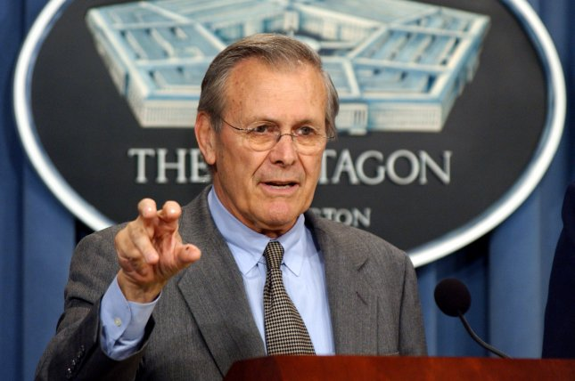 Secretary of Defense Donald Rumsfeld in 2003. Photo by Roger L. Wollenberg/UPI