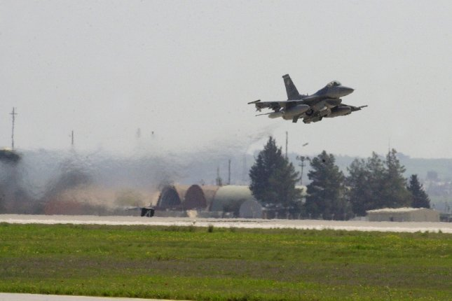 An F-16CJ takes off from Incirlik Air Base in Turkey. The Turkish government said it will allow the U.S. military to use the base to launch attacks against the Islamic State in Syria. File photo by Dennis J. Henry Jr./ U.S. Air Force