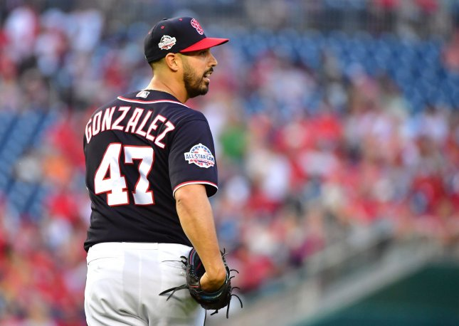 Gio Gonzalez and the Washington Nationals face the Miami Marlins on Friday. Photo by Kevin Dietsch/UPI