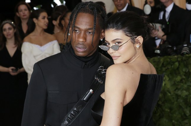 Travis Scott (L), pictured with Kylie Jenner, shared details about daughter Stormi's birth. File Photo by John Angelillo/UPI
