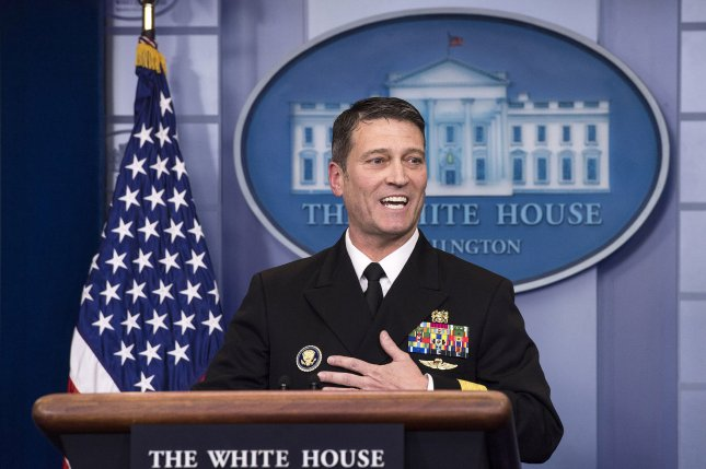 White House Doctor Ronny Jackson, a rear admiral, gives a briefing on President Donald Trumps health on January 18, 2018, following a medical exam. He departed as Trump's personal physician but on Saturday he was named the White House chief medical officer again. File photo by Kevin Dietsch/UPI