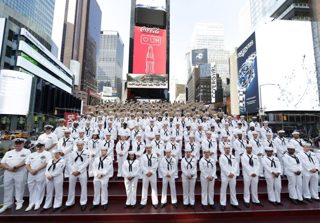Hundreds of Sailors, Marines and Coast Guardsmen gather to fill Times Square's iconic Red Steps for a photo to commemorate Fleet Week in New York City on May 22, 2019. Photo by John Angelillo/UPI