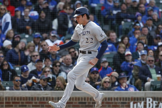 Milwaukee Brewers' Christian Yelich continues to have a huge season after winning the National League MVP award in 2018. File Photo by Kamil Krzaczynski/UPI