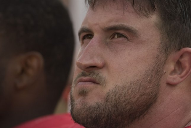 San Francisco 49ers left tackle Joe Staley missed six games this season due to a broken fibula before sustaining a fractured finger in Week 10.  File Photo by Terry Schmitt/UPI