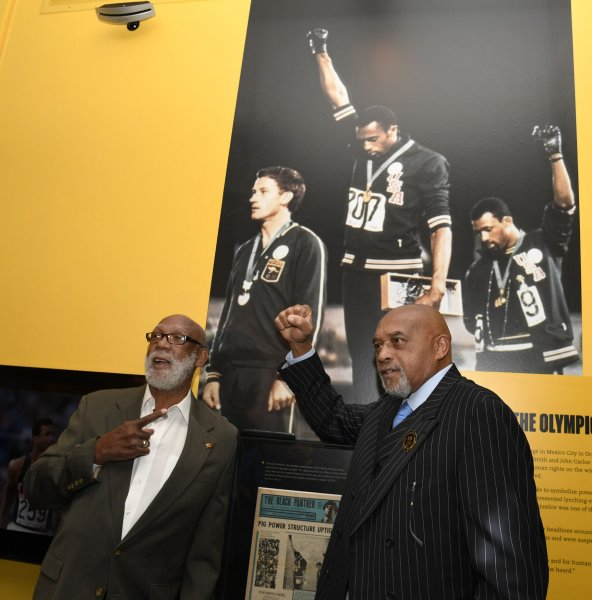 Olympic athletes Tommie Smith (R) and John Carlos raised their fists in a Black Power salute at the 1968 Olympics. File Photo by Mike Theiler/UPI