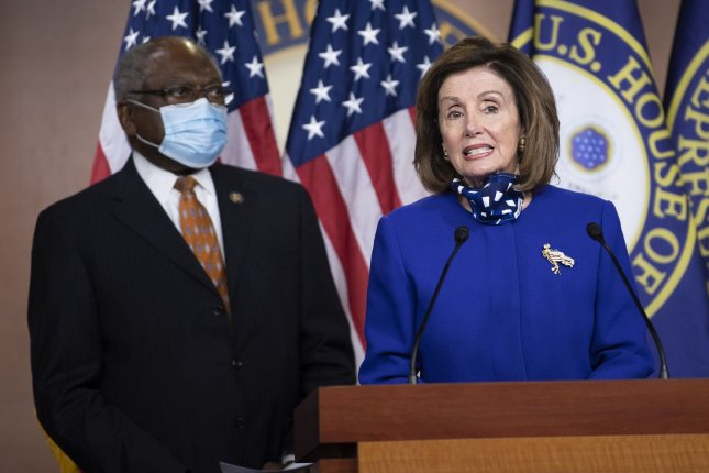 Speaker of the House Nancy Pelosi, D-Calif., and House Democratic Whip James Clyburn, D-S.C., hold a news conference to announce members of the House select committee on the coronavirus, on Capitol Hill on Wednesday. Photo by Kevin Dietsch/UPI