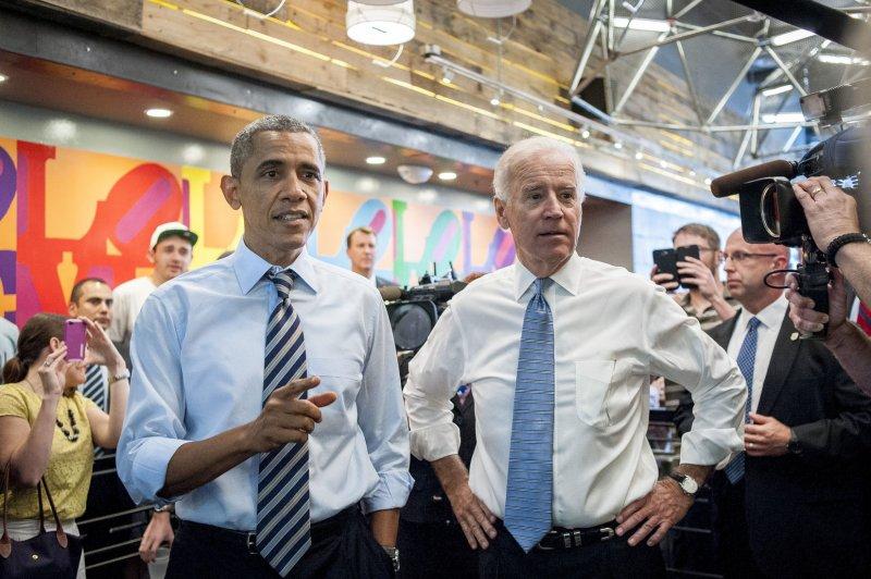 U.S. President Barack Obama and Vice President Joe Biden at Taylor Gourmet Deli on Pennsylvania Avenue in Washington, Oct. 4, 2013. UPI/Pete Marovich/Pool