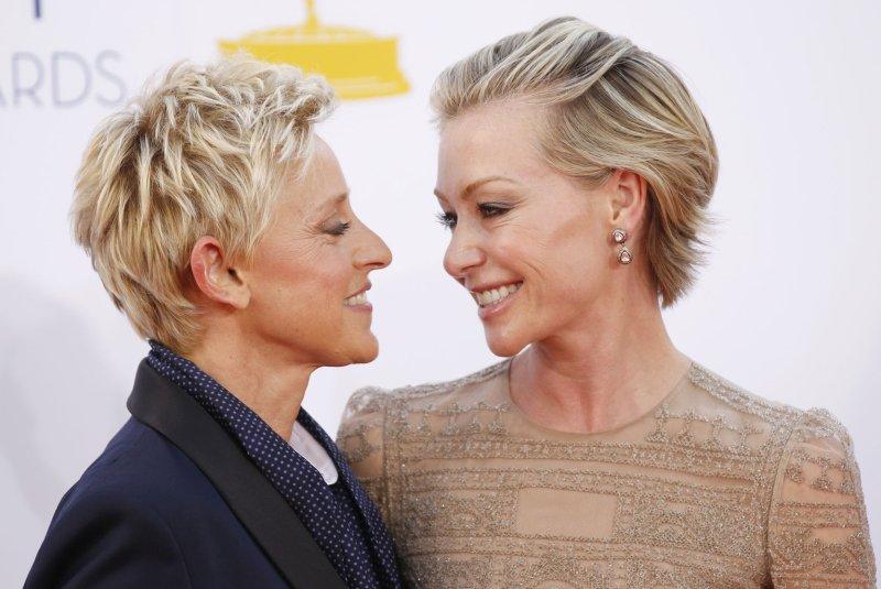 Ellen DeGeneres and Portia de Rossi. UPI/Danny Moloshok